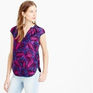 J Crew Blouse Purple Midnight Floral Cocoon 00